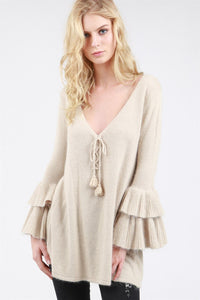 Tiered bell sleeve tunic sweater front lace up pom pom drawstring