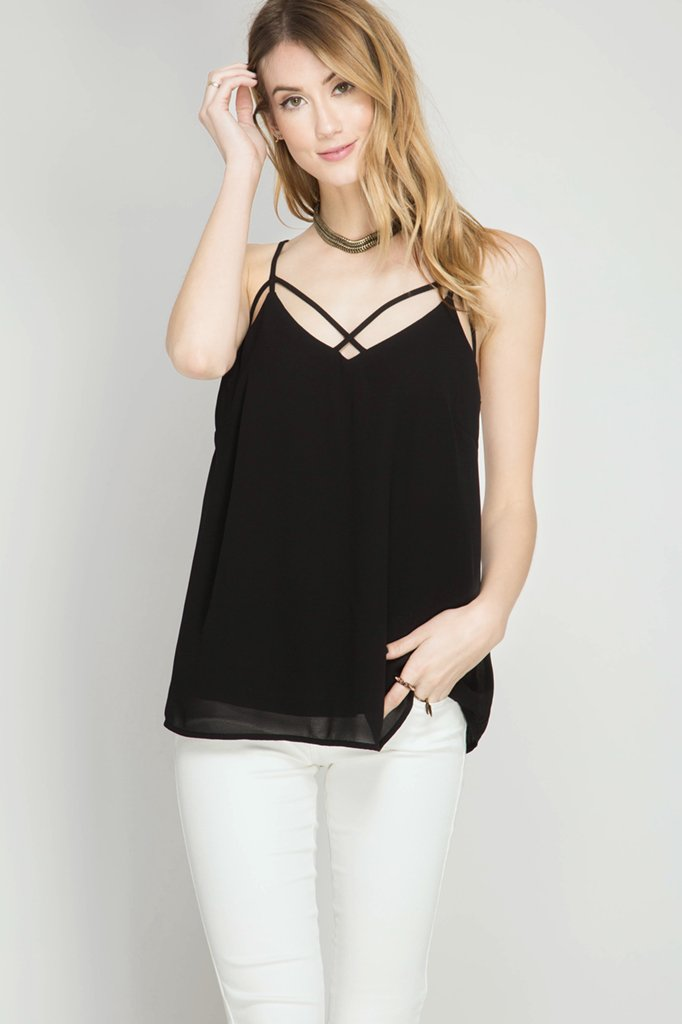 detailed cami black