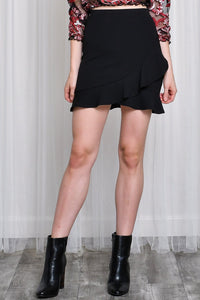 ruffle mini skirt black