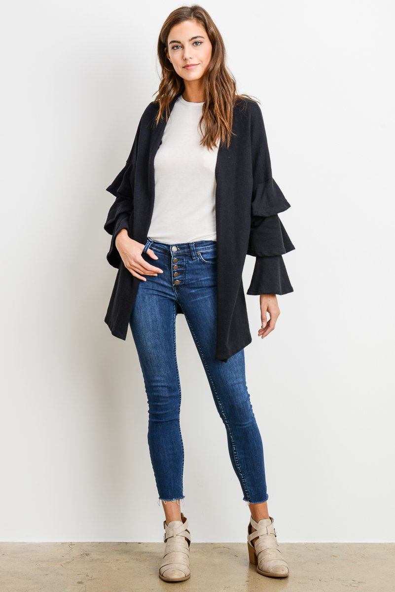 black ruffled sleeve cardigan