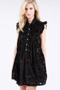 button front ruffle cap sleeve velvet dress black