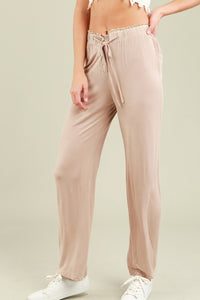 waist draw string knit pants beige