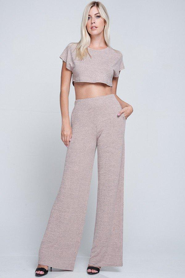 cutie pie two piece set  top pants blush