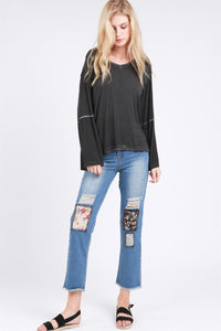 floral patch jeans cotton