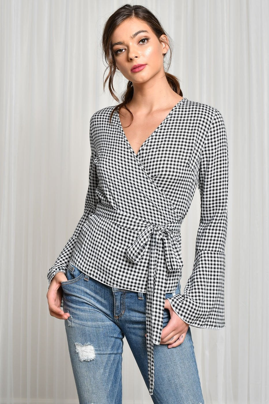 plaid print bell sleeve waist tie blouse black white