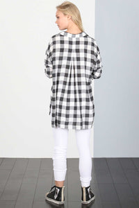 gingham blouse black white