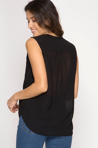 Shelly Sleeveless Top - Sweet Glitter Rock