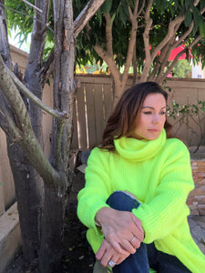 fluorescent yellow / hot pink sweater