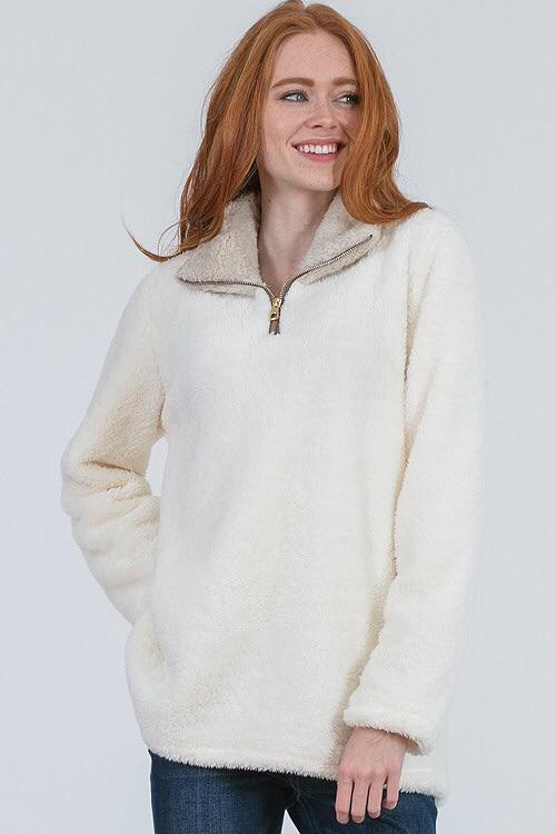 Portia Fluff Pullover with Zipper - Sweet Glitter Rock