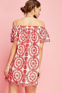 Cassandra Off Shoulder Embroidered Dress - Sweet Glitter Rock