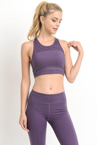 Dark Lavender Mesh Sports Bra