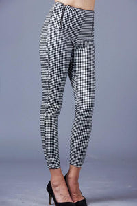 Plaid two zipper pants black white