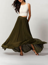 green pleated maxi skirt