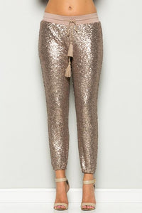 rose gold sequins joggers / pants