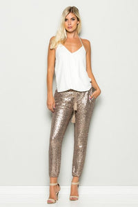 rose gold sequins joggers