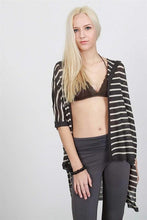 open front striped sweater charcoal