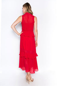 tiered ruffles scarf tie layered dress red