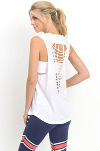 white Cutout Back Top