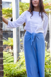 Women's Blue Linen Pants