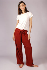Women's Red Linen Pants
