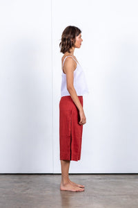 Red Linen Culottes