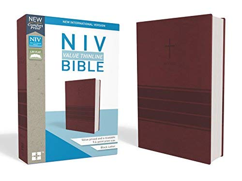 Personalized NIV Value Thinline Bible with Cross Burgundy Leathersoft