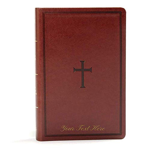 Personalized KJV Large Print Personal Size Reference Bible Brown Leathertouch Indexed