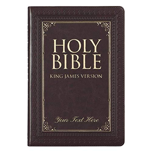 Personalized KJV Thinline Large Print Bible Dark Brown LuxLeather Indexed