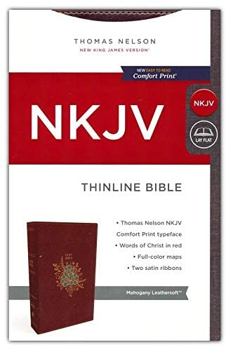 Personalized NKJV Thinline Bible Red Letter Comfort Print Holy Bible Leathersoft Mahogany