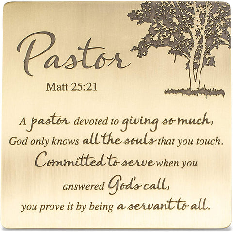 Dicksons Pastor Servant to All Matthew 25:21 Antique Brass 4 x 4 Metal Table Top and Wall Sign Plaque