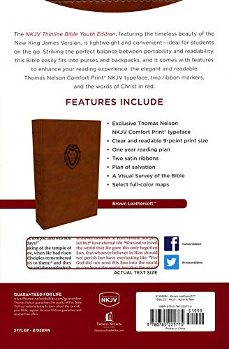 Personalized NKJV Thinline Bible Red Letter Youth Edition Leathersoft Brown