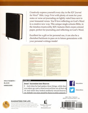 Personalized Custom Text KJV Journal The Word Bible Large Print Hardcover Black King James Version