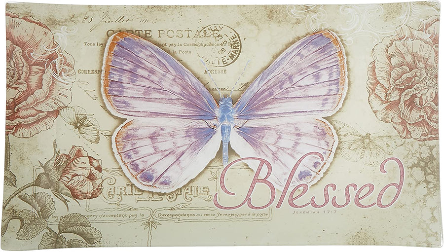 "Botanic Butterfly Blessings ""Blessed"" Glass Tidbit / Cookie Tray"