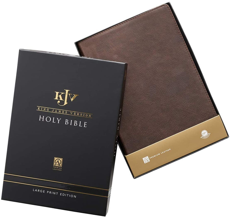Personalized KJV Holy Bible Thinline Large Print Brown Premium Leather w/Thumb Index