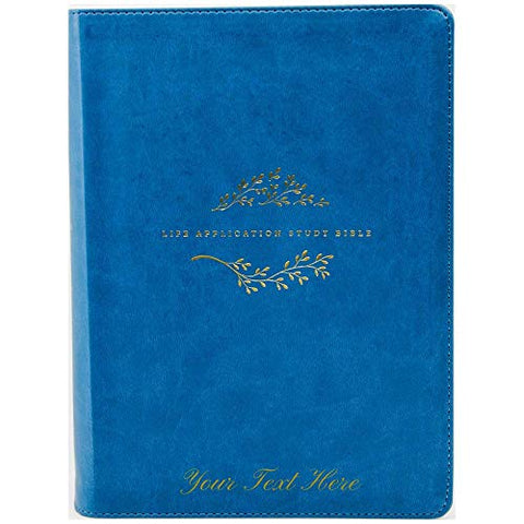 Personalized Tyndale NLT Life Application Study Bible Third Edition LeatherLike Teal Blue