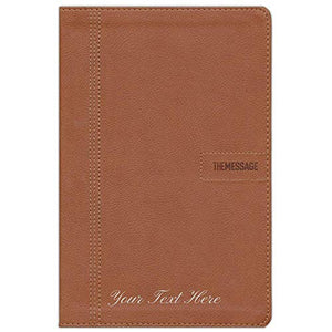 Personalized The Message Slimline Leather-Look Saddle Tan The Bible in Contemporary Language
