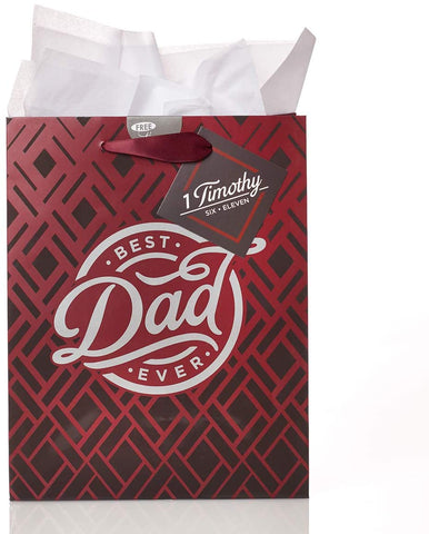 Best Dad Ever 1 Corinthians 6:11 Medium Gift Bag with Tissue Paper