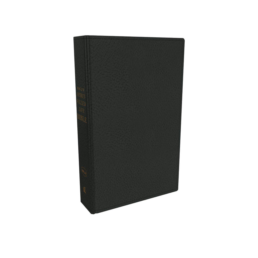 Personalized Custom Text NKJV Spirit-Filled Life Bible Genuine Leather Black New King James Version