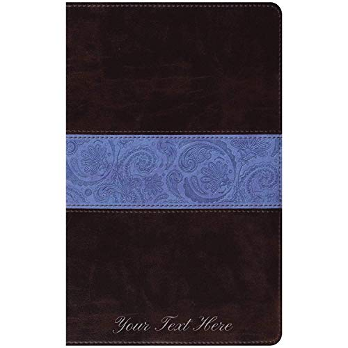 Personalized ESV Thinline Bible TruTone Chocolate/Blue Paisley Band