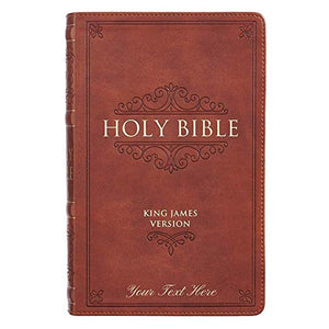 Personalized KJV Holy Bible Giant Print Standard Bible Brown Faux Leather Bible w/ Ribbon Marker