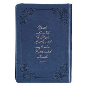 Be Still and Know Classic Faux Leather Journal in Navy Blue - Psalm 46:10