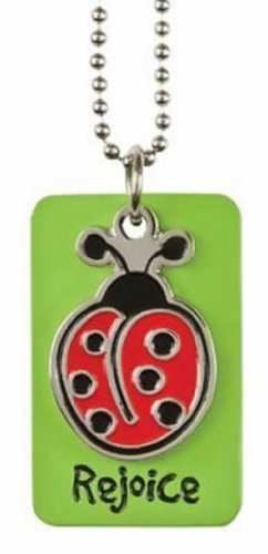 "Christian Green Ladybug Rejoice Dog Tag Necklace - Philippians 4:4 ""Rejoice in the Lord Always"""