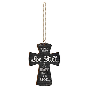 Be Still and Know That I Am God Scripture Page Chalkboard Look Cross Wood Car Charm