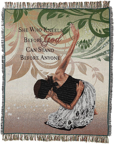 African American Expressions - She Who Kneels Cotton Tapestry Throw ( 4' x 5') TH-22