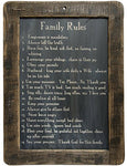 Family Rules Blackboard on Distressed Slate with Stained Wooden Frame