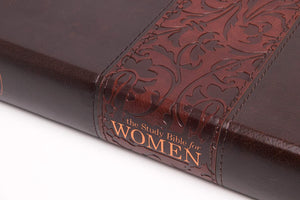 Personalized NKJV The Study Bible for Women Mahogany Leather Touch