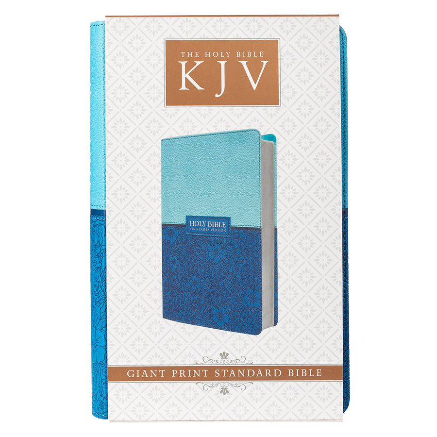 Personalized KJV Giant Print Two-Tone Blue Faux Leather w/Ribbon Marker