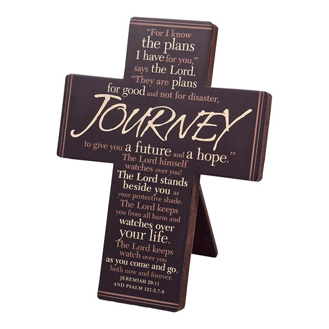 Journey - Jeremiah 29:11 Brown Metal Cross