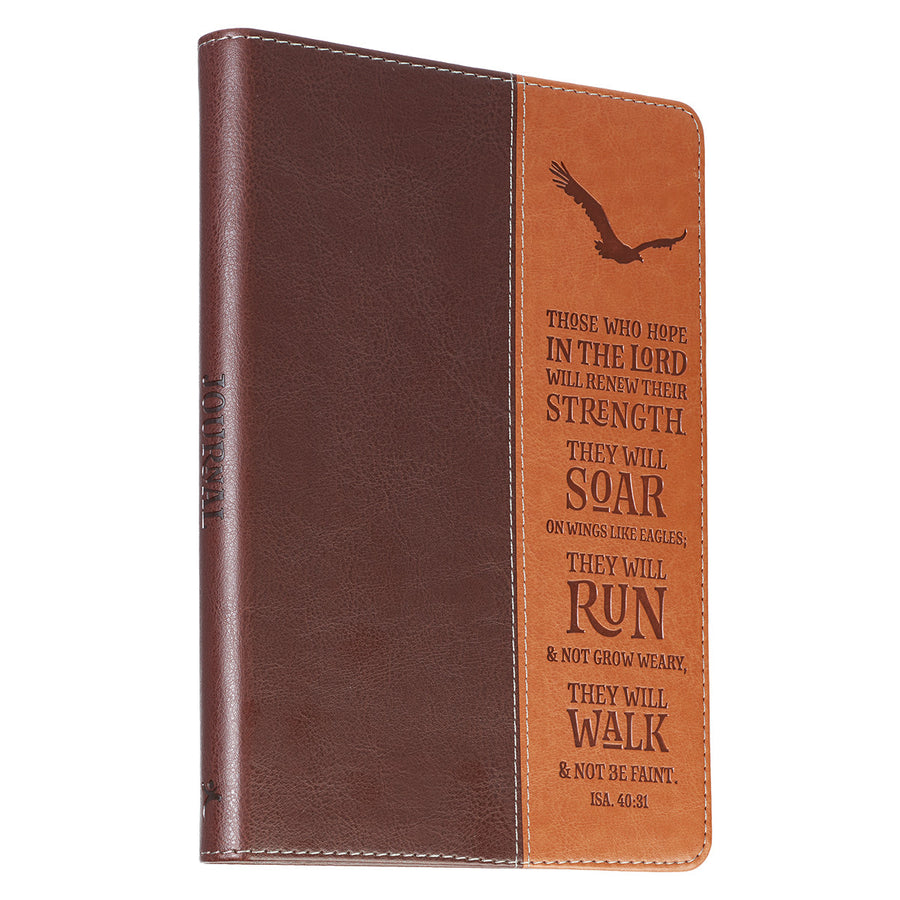Personalized Journal Custom Text Soar On Wings Like Eagles Classic LuxLeather Journal Brown/Tan