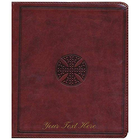 Personalized ESV Journaling Bible TruTone Brown Mosaic Cross Design